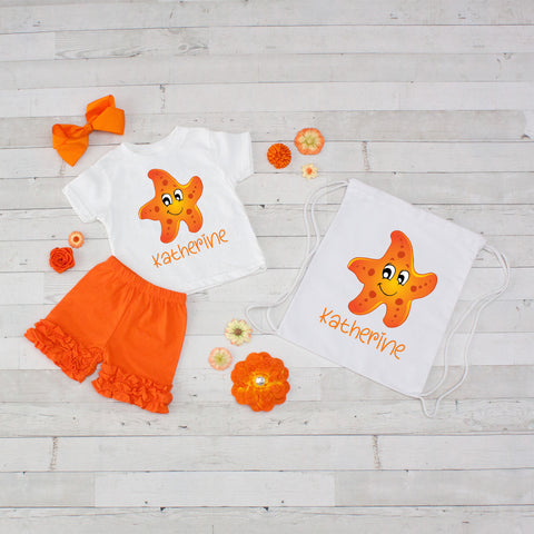 Starfish - 4pc Personalized Shirt, Short and Bag Set
