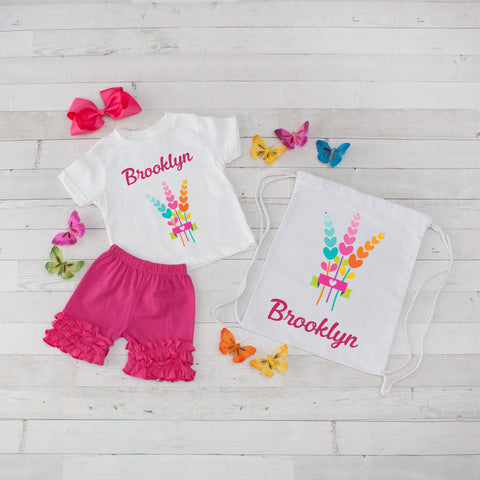 Rainbow Wheat - 4pc Personalized Shirt, Short and Bag Set