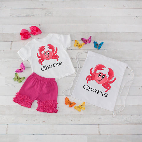 Crab - 4pc Personalized Shirt, Short and Bag Set