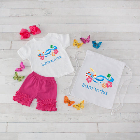 Hot Pink Beach Day - 4pc Personalized Shirt, Short and Bag Set