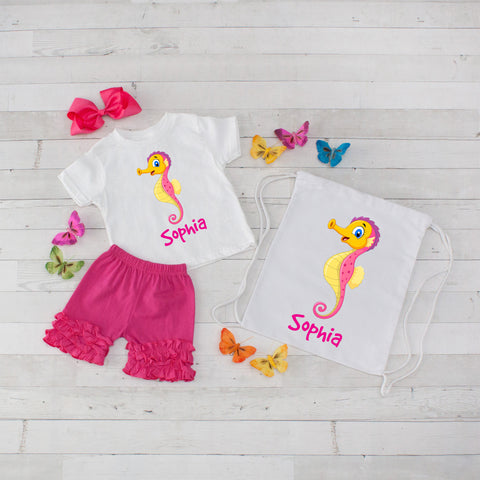 Seahorse - 4pc Personalized Shirt, Short and Bag Set