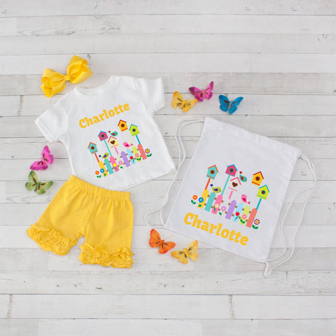 Rainbow Bird Village - 4pc Personalized Shirt, Short and Bag Set