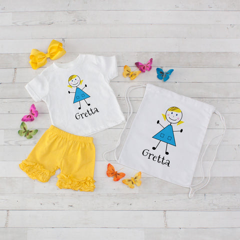 Little Girl in a Blue Dress - 4pc Personalized Shirt, Short and Bag Set