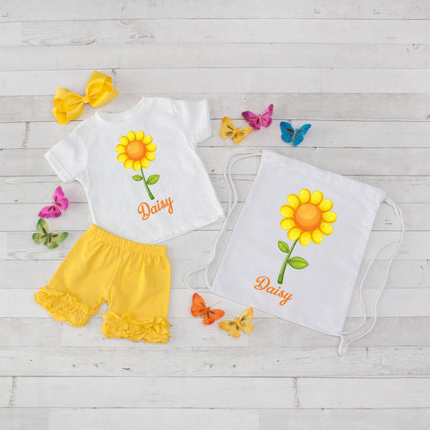 Yellow Daisy - 4pc Personalized Shirt, Short and Bag Set