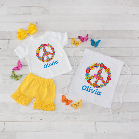Rainbow Floral Peace Sign - 4pc Personalized Shirt, Short and Bag Set