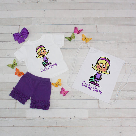 Time for School in Purple - 4pc Personalized Shirt, Short and Bag Set