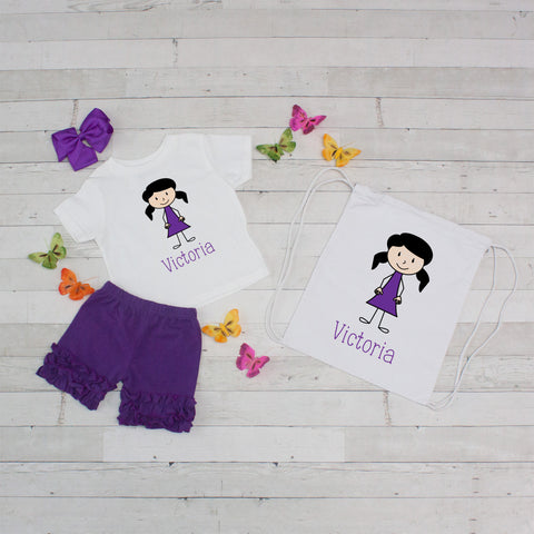 Little Girl Purple Dress - 4pc Personalized Shirt, Short and Bag Set