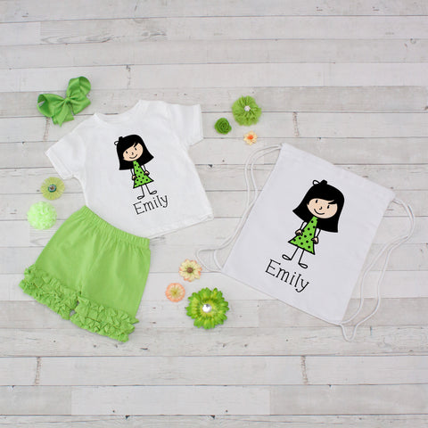 Little Girl Lime Polka Dot Dress - 4pc Personalized Shirt, Short and Bag Set