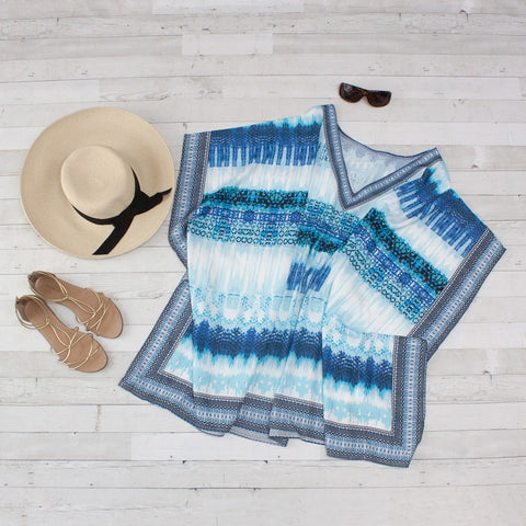 Blue & White Boho Print Beach Cover Up