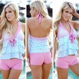 Pink & Blue Polka Dots & Stripes Halter Tie 2 Piece Swimsuit