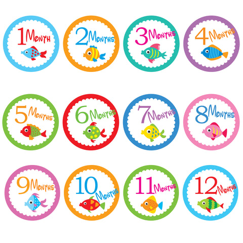 Baby Monthly Stickers - Tropical Fish