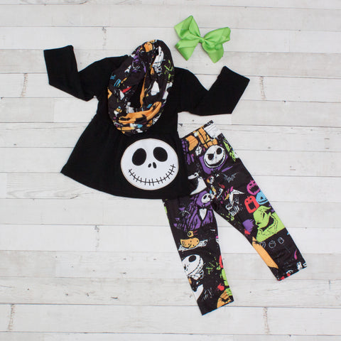 Frightfully Cute Black Halloween Long Sleeve Set - Top, Pants & Scarf
