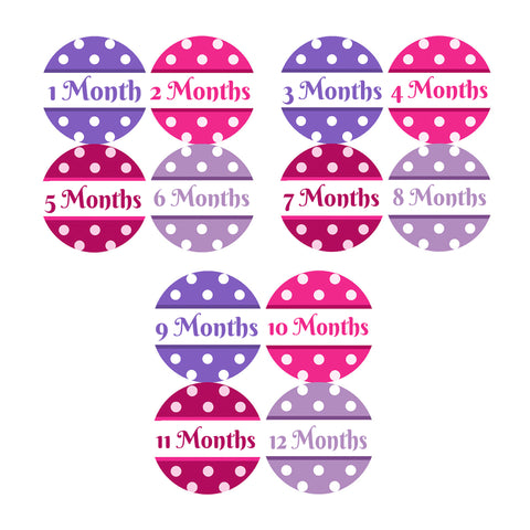 Baby Monthly Stickers - Polka Dots