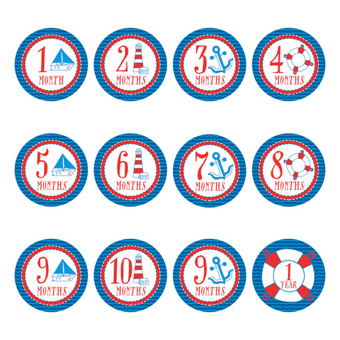 Baby Monthly Stickers - Nautical