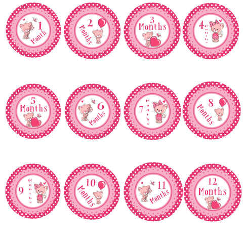 Baby Monthly Stickers - Kitty Love