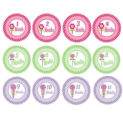 Baby Monthly Stickers - Flowers
