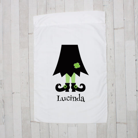 Black with Lime Witch Legs Personalized Pillowcase