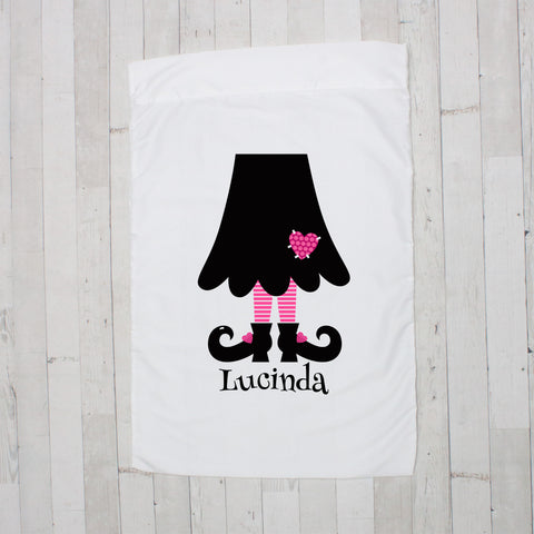 Black with Hot Pink Witch Legs Personalized Pillowcase