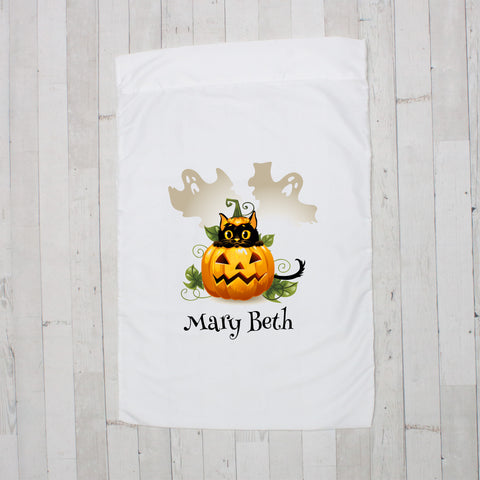 Halloween Kitty in Pumpkin Personalized Pillowcase