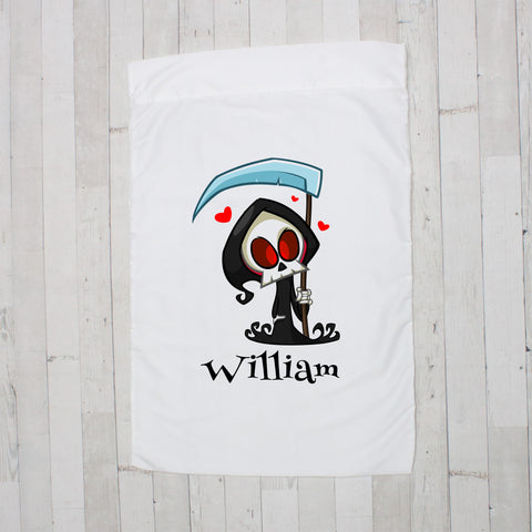 Grim Reaper with Hearts Personalized Pillowcase