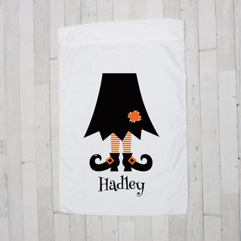 Black with Orange Witch Legs Personalized Pillowcase