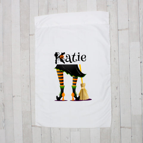 Black with Orange Witch Legs with Broom Personalized Pillowcase