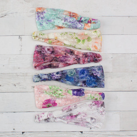 Women's Floral Print Lace Headband