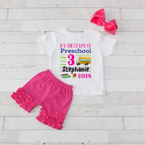 My First Day of Preschool Personalized 3pc Shirt and Short Set Hot Pink