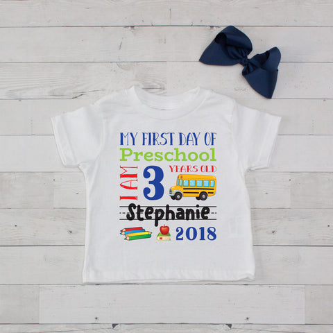 My First Day of Preschool Personalized Graphic T-Shirt Set Navy Blue