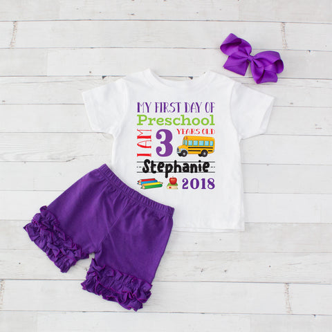 My First Day of Preschool Personalized 3pc Shirt and Short Set Purple
