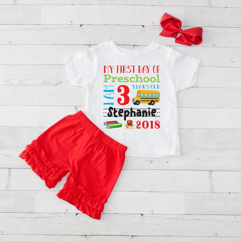 My First Day of Preschool Personalized 3pc Shirt and Short Set Red
