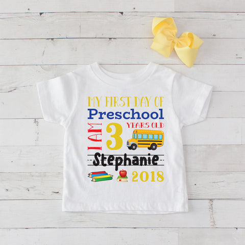 My First Day of Preschool Personalized Graphic T-Shirt Set Yellow