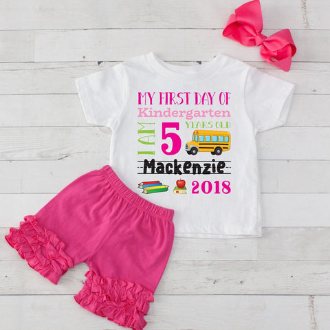 My First Day of Kindergarten Personalized 3pc Shirt and Short Set Hot Pink