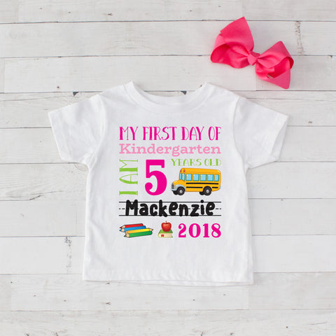 My First Day of Kindergarten Personalized Graphic T-Shirt Set Hot Pink