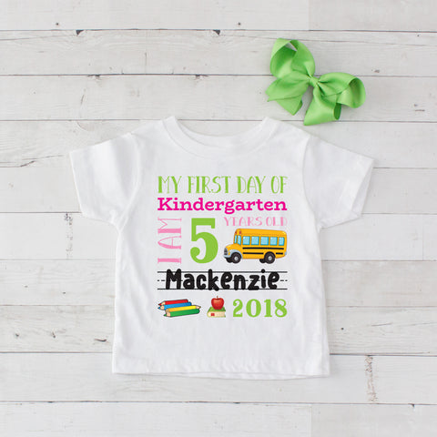 My First Day of Kindergarten Personalized Graphic T-Shirt Set Lime