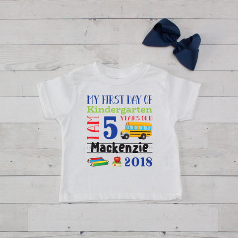 My First Day of Kindergarten Personalized Graphic T-Shirt Set Navy Blue