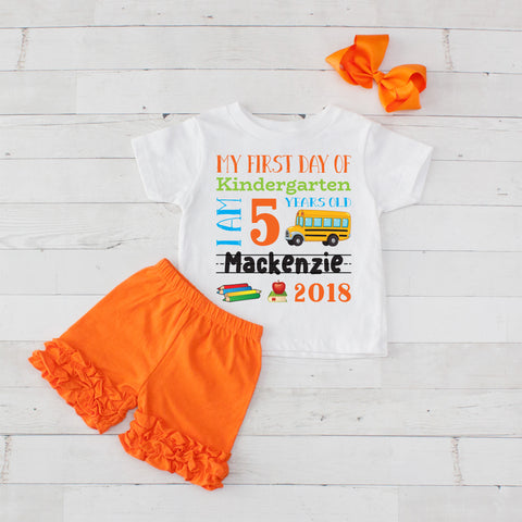 My First Day of Kindergarten Personalized 3pc Shirt and Short Set Orange