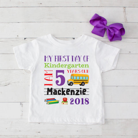 My First Day of Kindergarten Personalized Graphic T-Shirt Set Purple