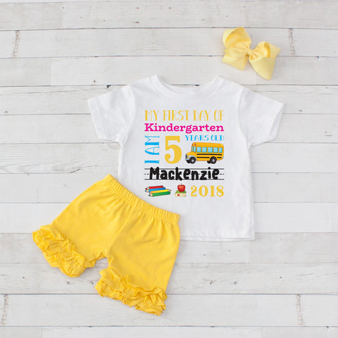 My First Day of Kindergarten Personalized 3pc Shirt and Short Set Yellow