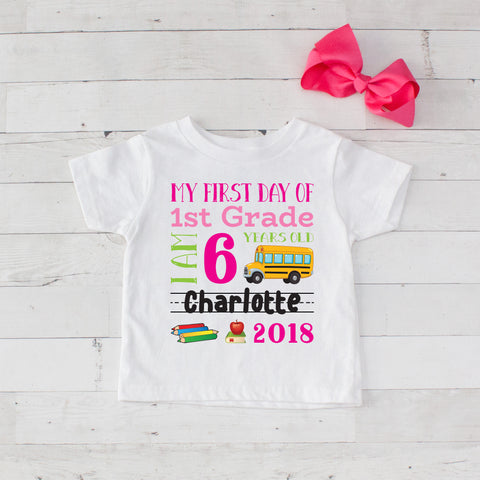 My First Day of 1st Grade Personalized Graphic T-Shirt Set Hot Pink