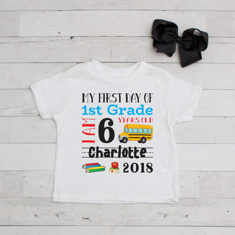 My First Day of 1st Grade Personalized Graphic T-Shirt Set Black