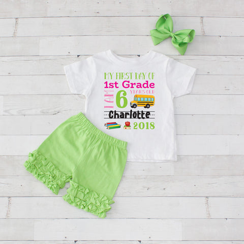 My First Day of 1st Grade Personalized 3pc Shirt and Short Set Lime