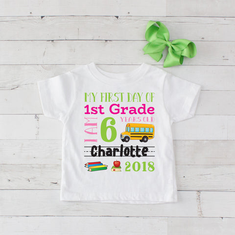 My First Day of 1st Grade Personalized Graphic T-Shirt Set Lime