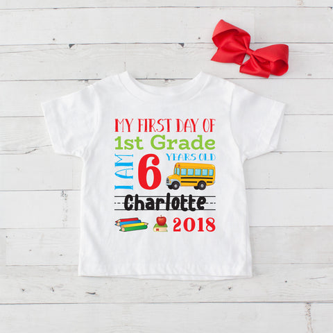 My First Day of 1st Grade Personalized Graphic T-Shirt Set Red