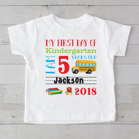 My First Day of Kindergarten Personalized Graphic T-Shirt