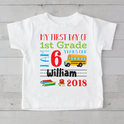 My First Day of 1st Grade Personalized Graphic T-Shirt