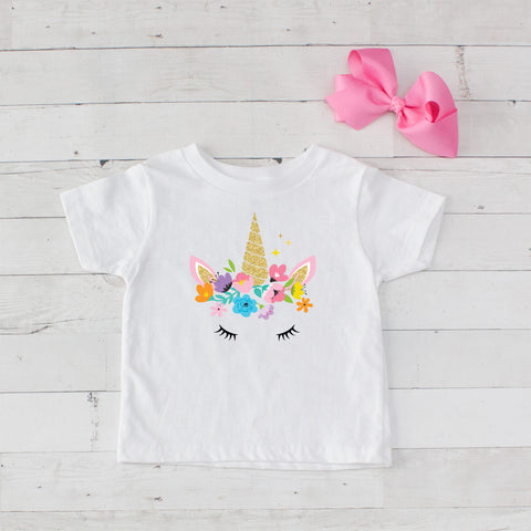 Sleeping Floral Unicorn Graphic T-Shirt