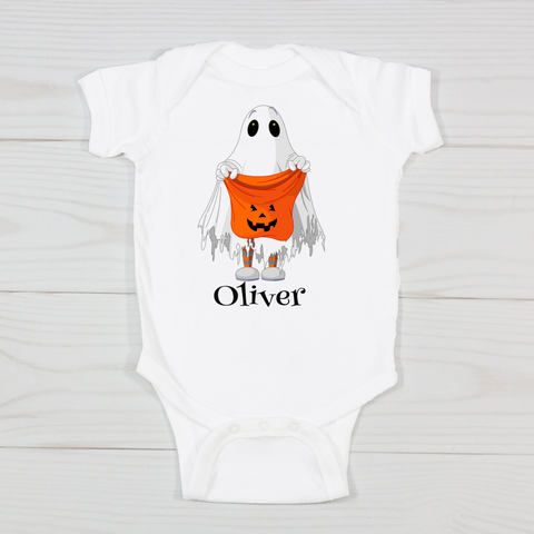 Trick Or Treat Ghost Personalized Bodysuit
