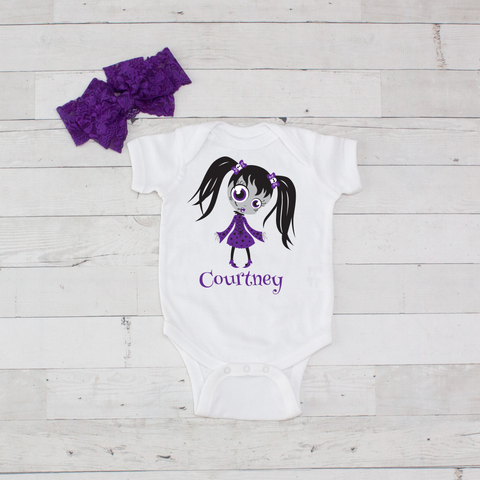 Purple Zombie Girl - 2pc Personalized Bodysuit and Bow Headband