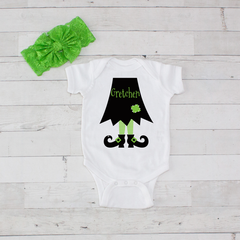 Black with Lime Witch Legs - 2pc Personalized Bodysuit and Bow Headband